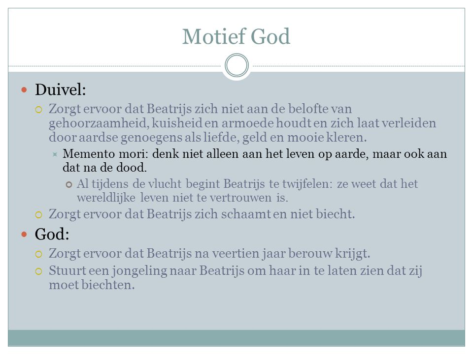 Motief God Duivel: God: