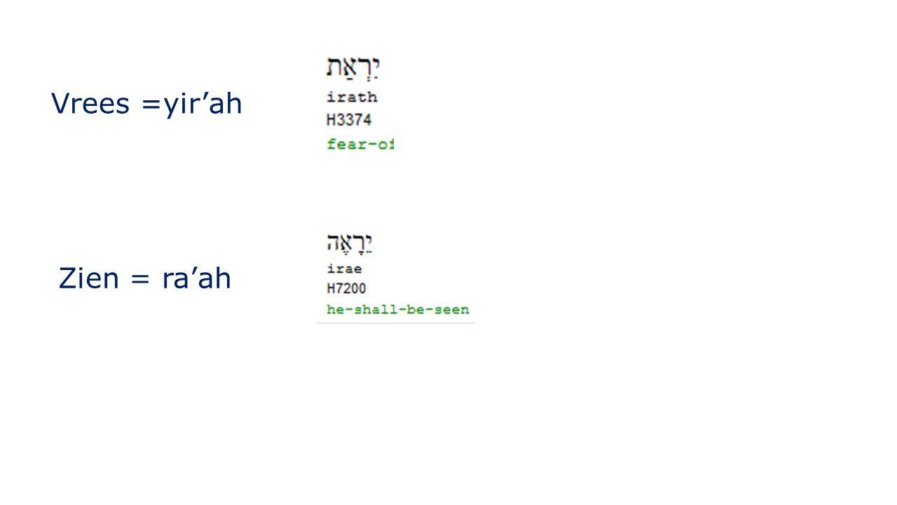 Vrees =yir'ah Zien = ra'ah