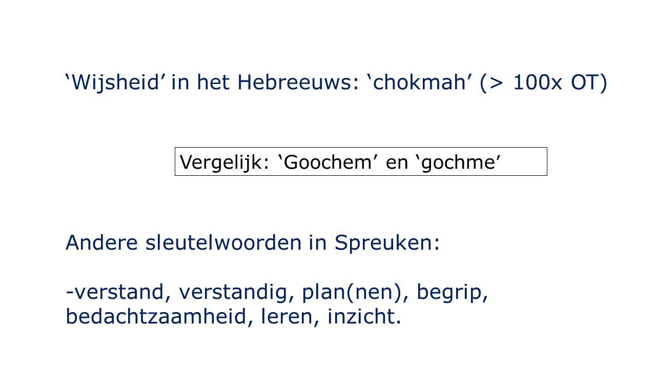 'Wijsheid' in het Hebreeuws: 'chokmah' (> 100x OT)