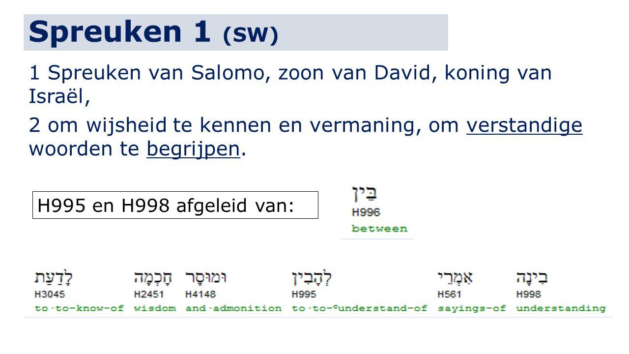 Spreuken 1 (SW) 1 Spreuken van Salomo, zoon van David, koning van Israël, 2 om wijsheid te kennen en vermaning, om verstandige woorden te begrijpen.