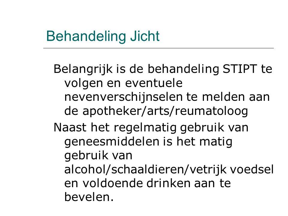 Behandeling Jicht Belangrijk is de behandeling STIPT te volgen en eventuele nevenverschijnselen te melden aan de apotheker/arts/reumatoloog.