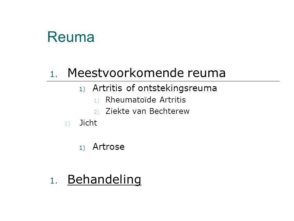 Reuma Meestvoorkomende reuma Behandeling Artritis of ontstekingsreuma