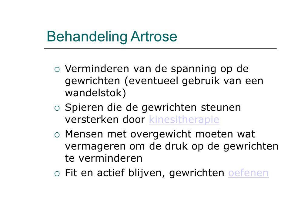 Behandeling Artrose Verminderen van de spanning op de gewrichten (eventueel gebruik van een wandelstok)
