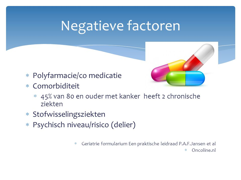 Negatieve factoren Polyfarmacie/co medicatie Comorbiditeit