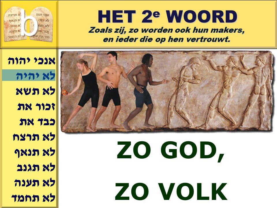b ZO GOD, ZO VOLK HET 2e WOORD Zoals zij, zo worden ook hun makers,