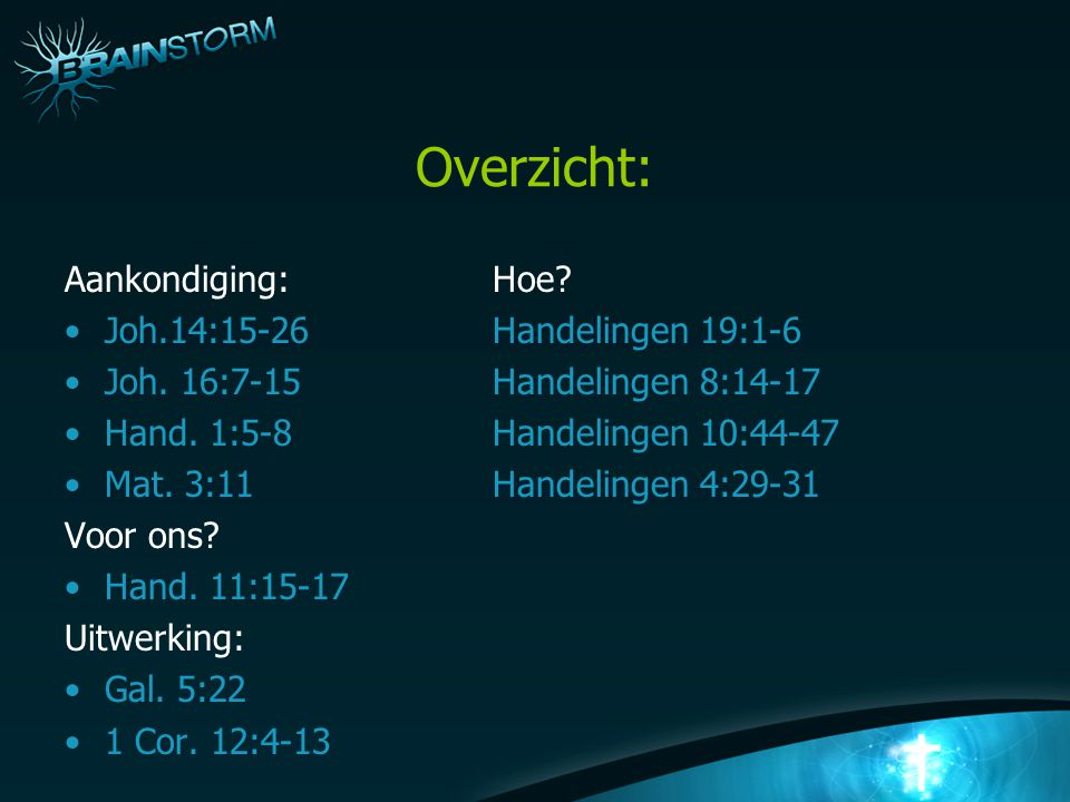 Overzicht: Aankondiging: Hoe Joh.14:15-26 Handelingen 19:1-6