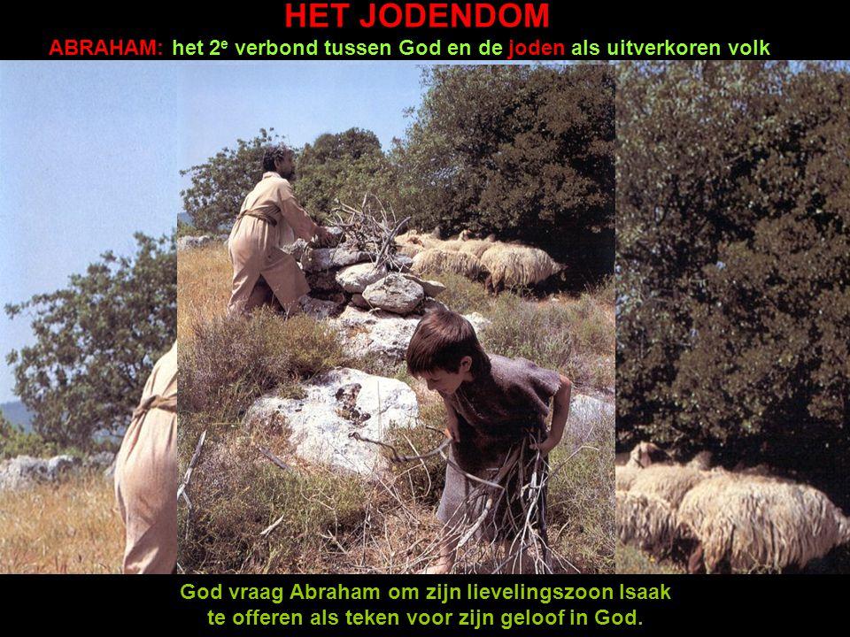 HET JODENDOM ABRAHAM: het 2e verbond tussen God en de joden als uitverkoren volk. ADAM EN EVA: de schepping van de wereld.