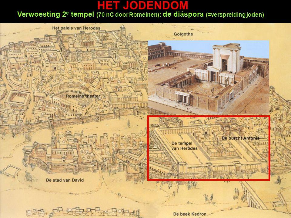 HET JODENDOM Verwoesting 2e tempel (70 nC door Romeinen): de diáspora (=verspreiding joden)