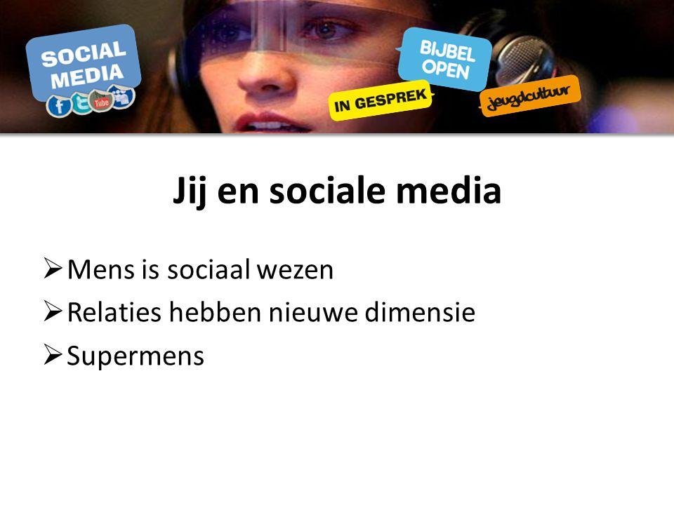 Jij en sociale media Mens is sociaal wezen