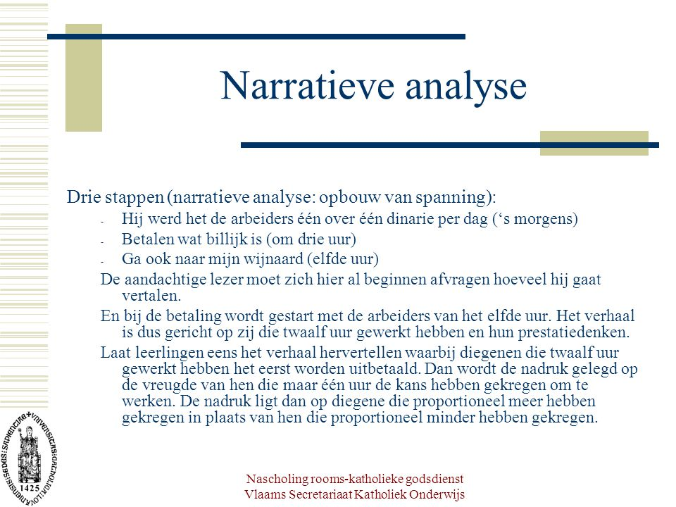 Narratieve analyse Drie stappen (narratieve analyse: opbouw van spanning): Hij werd het de arbeiders één over één dinarie per dag ('s morgens)