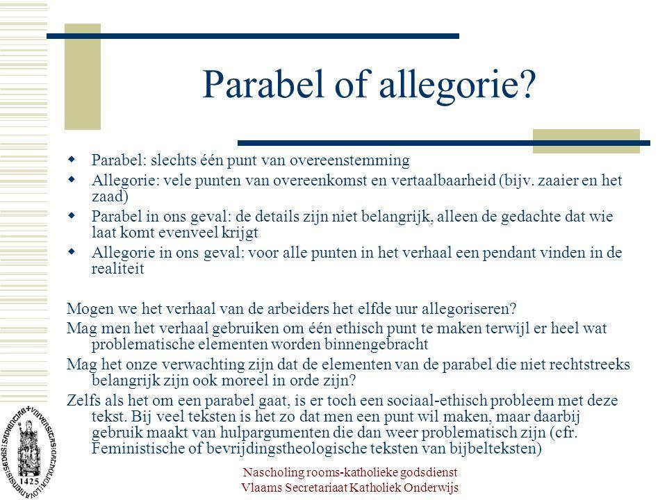 Parabel of allegorie Parabel: slechts één punt van overeenstemming