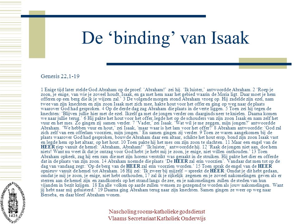 De 'binding' van Isaak Genesis 22,1-19
