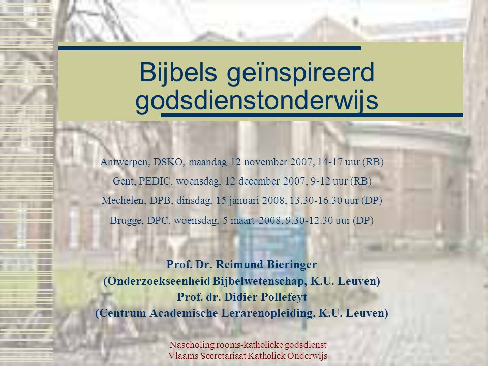 Bijbels geïnspireerd godsdienstonderwijs