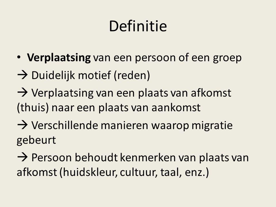 Definitie Verplaatsing van een persoon of een groep