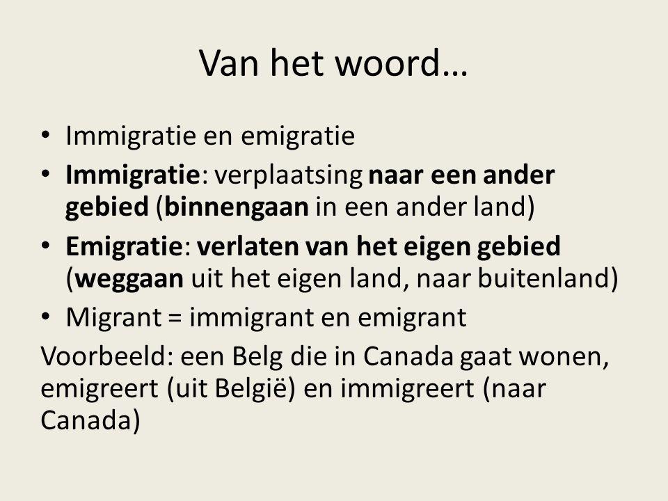 Van het woord… Immigratie en emigratie
