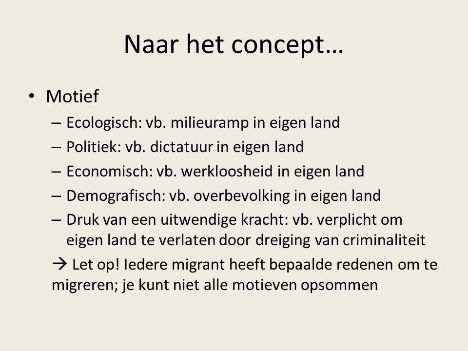 Naar het concept… Motief Ecologisch: vb. milieuramp in eigen land