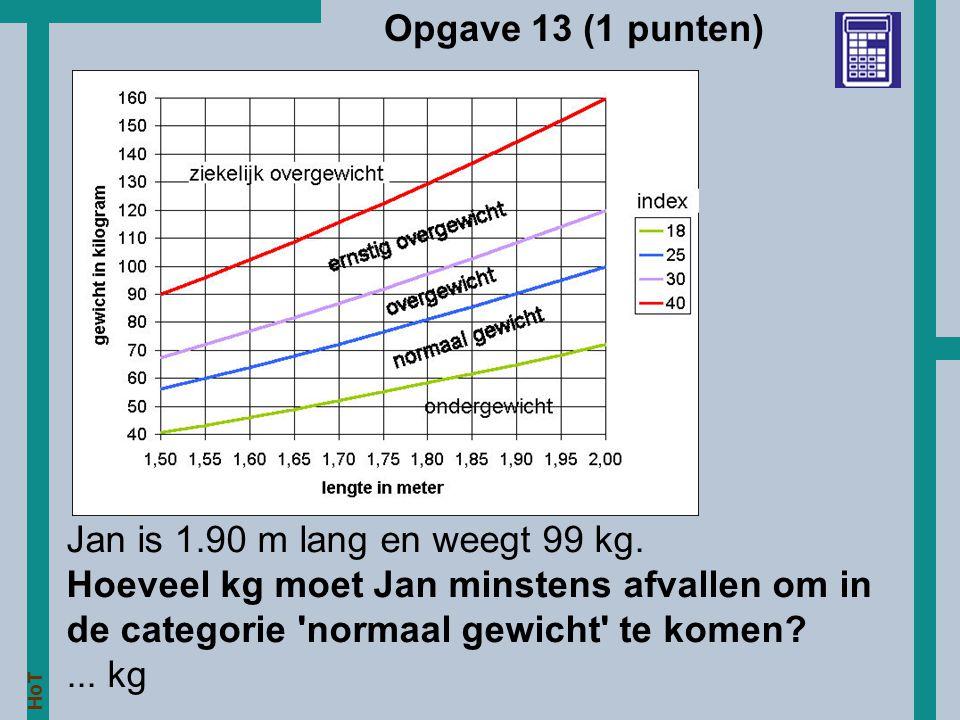 Opgave 13 (1 punten) Jan is 1.90 m lang en weegt 99 kg.
