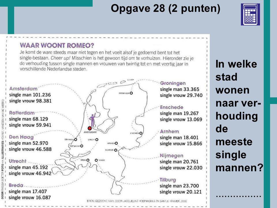 Opgave 28 (2 punten) In welke stad wonen naar ver-houding de meeste single mannen ................