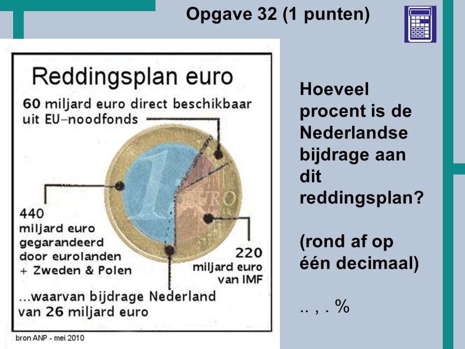 Opgave 32 (1 punten) Hoeveel procent is de Nederlandse bijdrage aan dit reddingsplan (rond af op één decimaal)