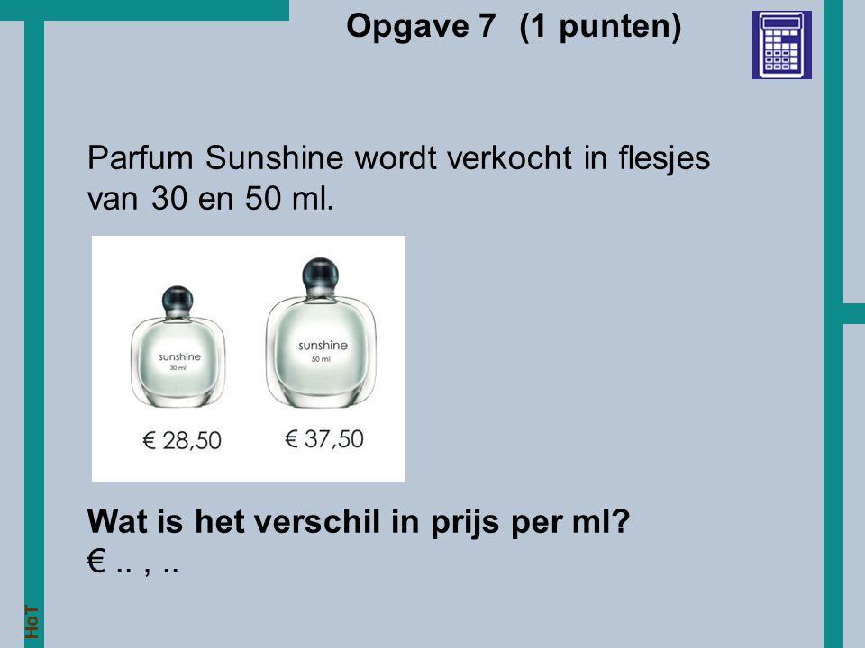 Opgave 7 (1 punten) Parfum Sunshine wordt verkocht in flesjes.