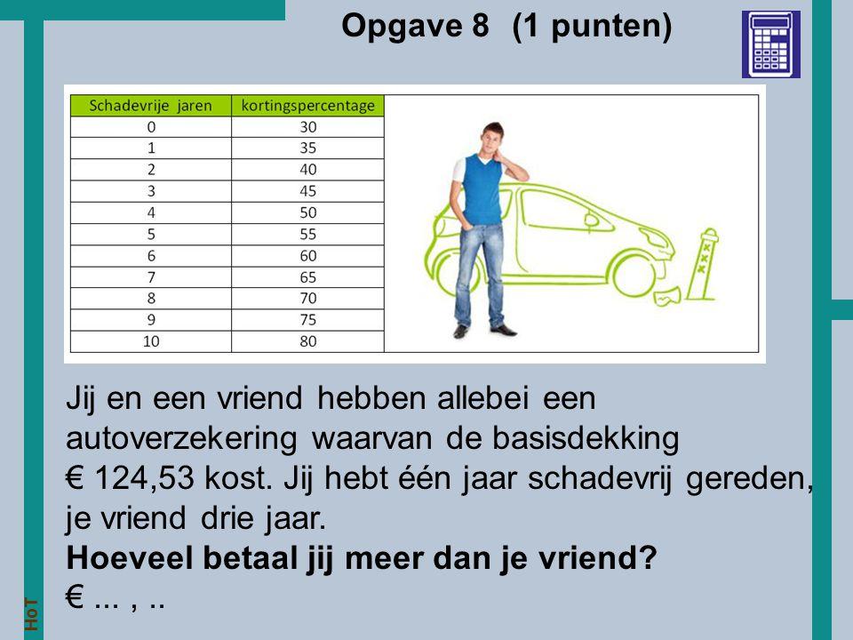 Opgave 8 (1 punten) Jij en een vriend hebben allebei een autoverzekering waarvan de basisdekking.