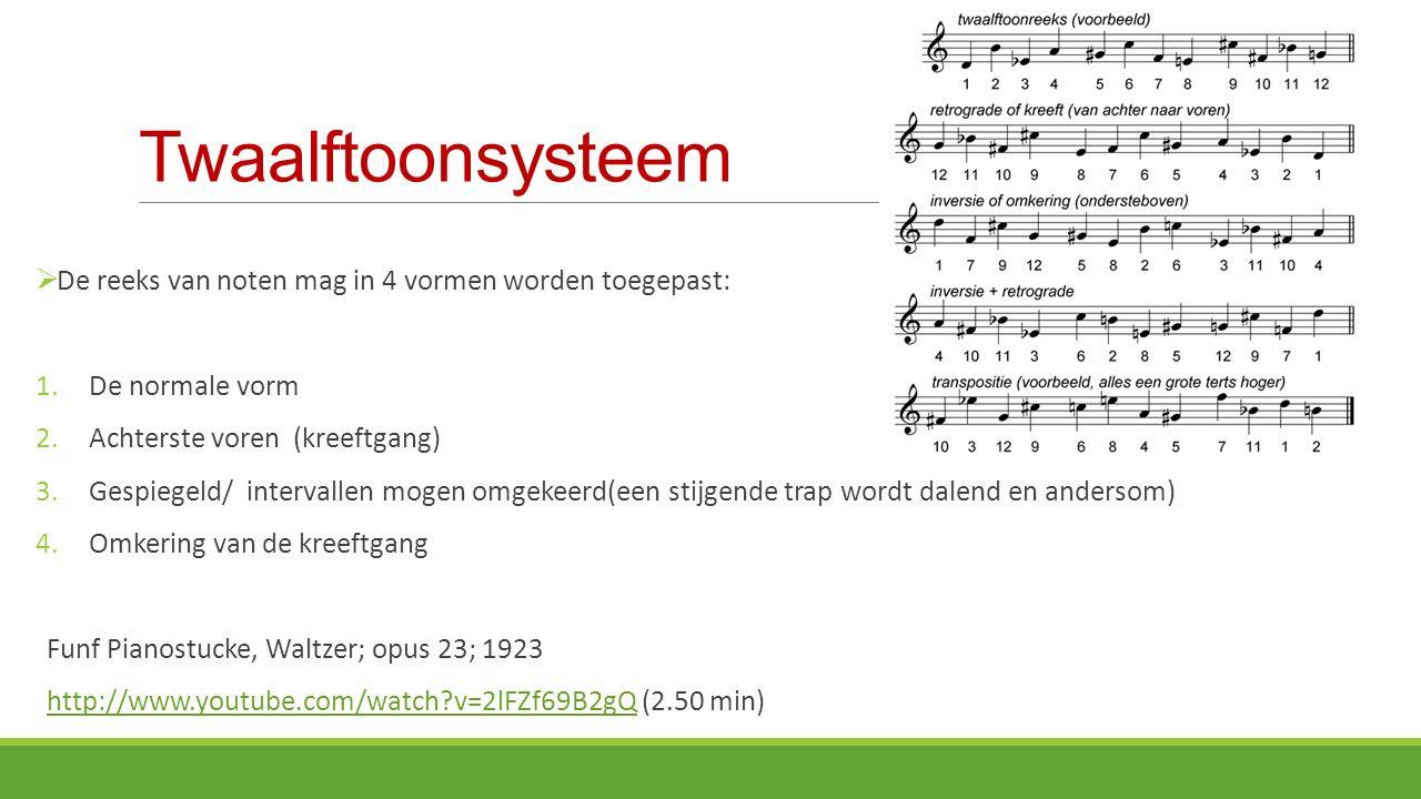 Twaalftoonsysteem De reeks van noten mag in 4 vormen worden toegepast: