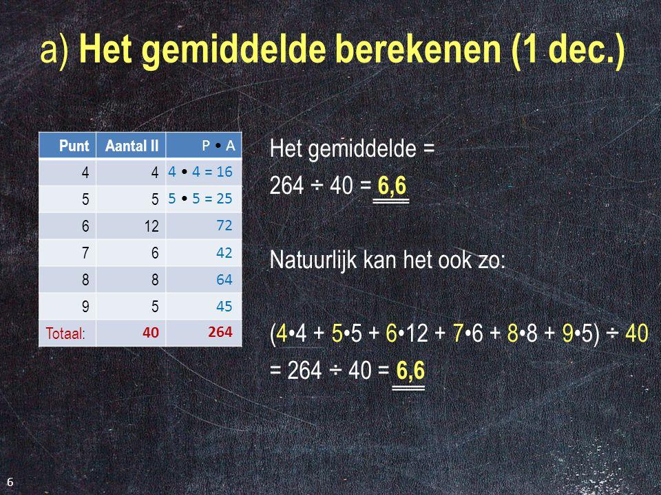 a) Het gemiddelde berekenen (1 dec.)
