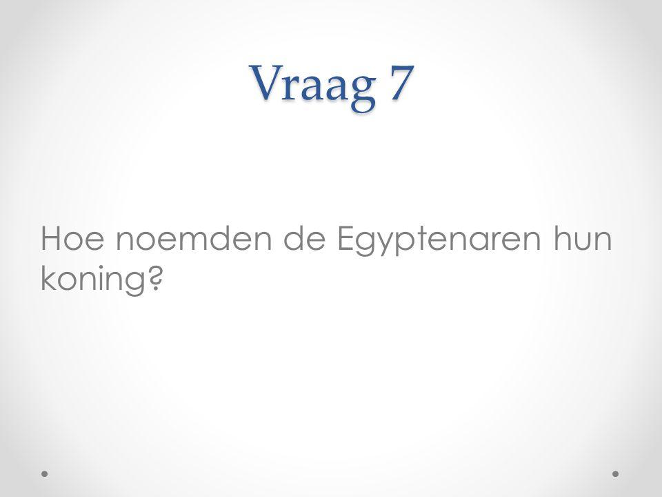 Vraag 7 Hoe noemden de Egyptenaren hun koning
