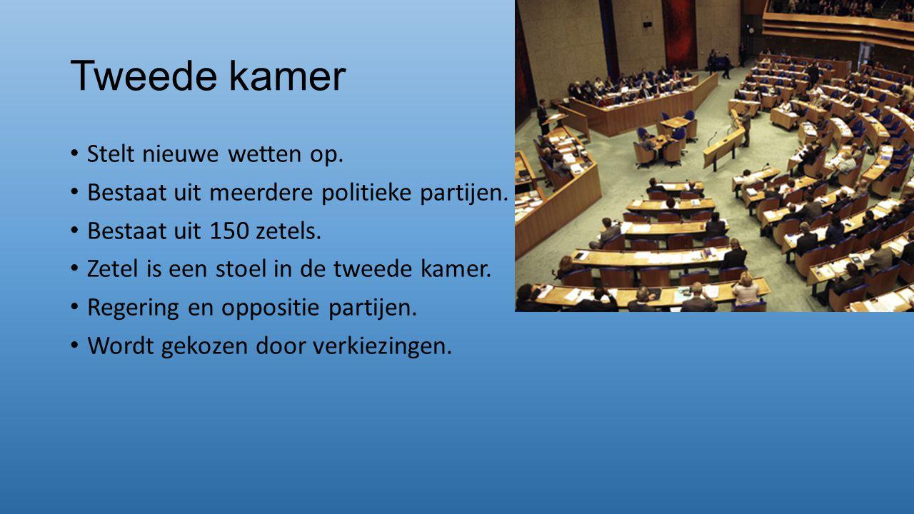 Tweede kamer Stelt nieuwe wetten op.