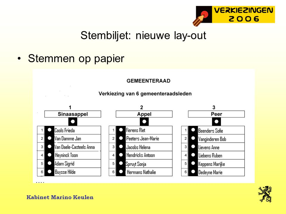 Stembiljet: nieuwe lay-out