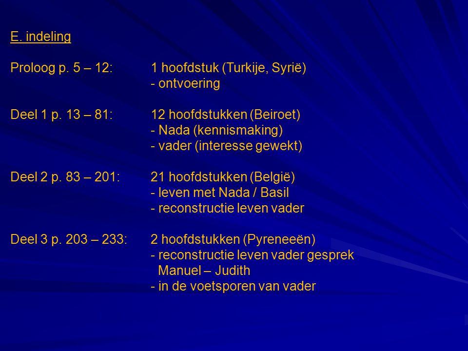 E. indeling Proloog p. 5 – 12: 1 hoofdstuk (Turkije, Syrië) - ontvoering. Deel 1 p. 13 – 81: 12 hoofdstukken (Beiroet)
