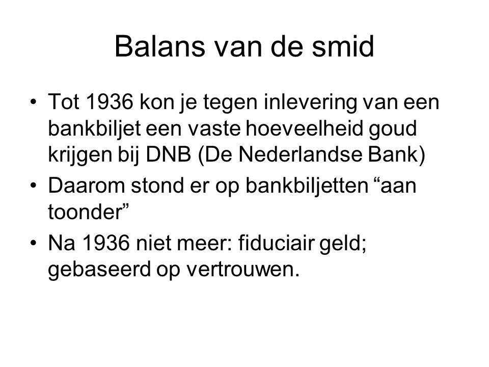 Balans van de smid Tot 1936 kon je tegen inlevering van een bankbiljet een vaste hoeveelheid goud krijgen bij DNB (De Nederlandse Bank)