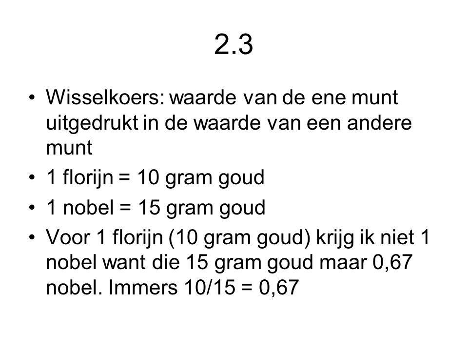 2.3 Wisselkoers: waarde van de ene munt uitgedrukt in de waarde van een andere munt. 1 florijn = 10 gram goud.