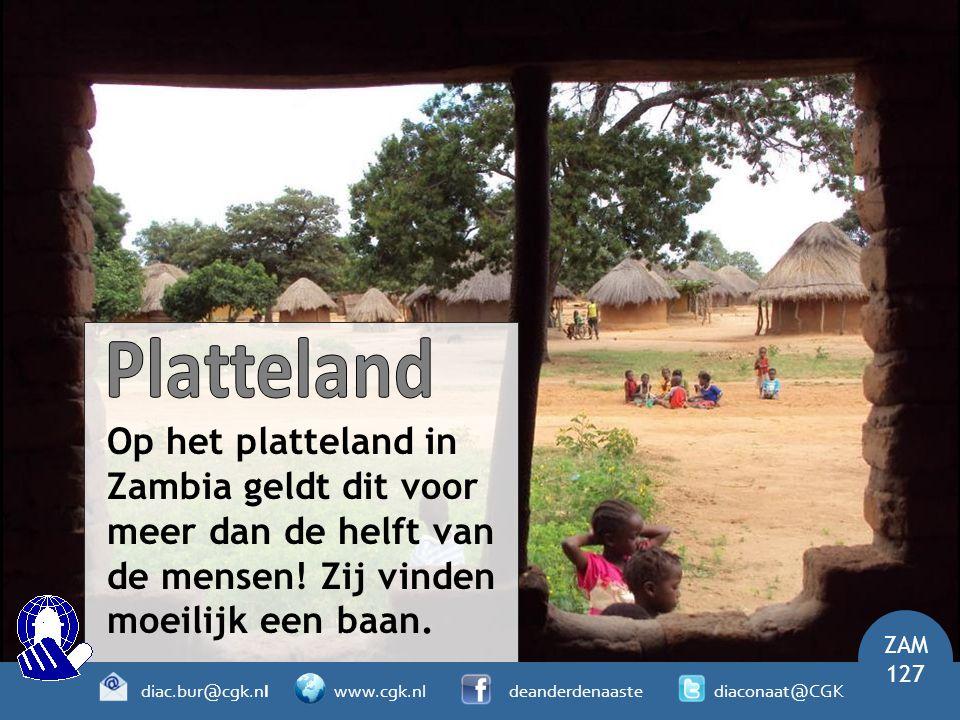 Platteland Op het platteland in Zambia geldt dit voor meer dan de helft van de mensen! Zij vinden moeilijk een baan.