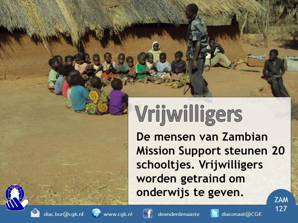 Vrijwilligers De mensen van Zambian Mission Support steunen 20 schooltjes. Vrijwilligers worden getraind om onderwijs te geven.