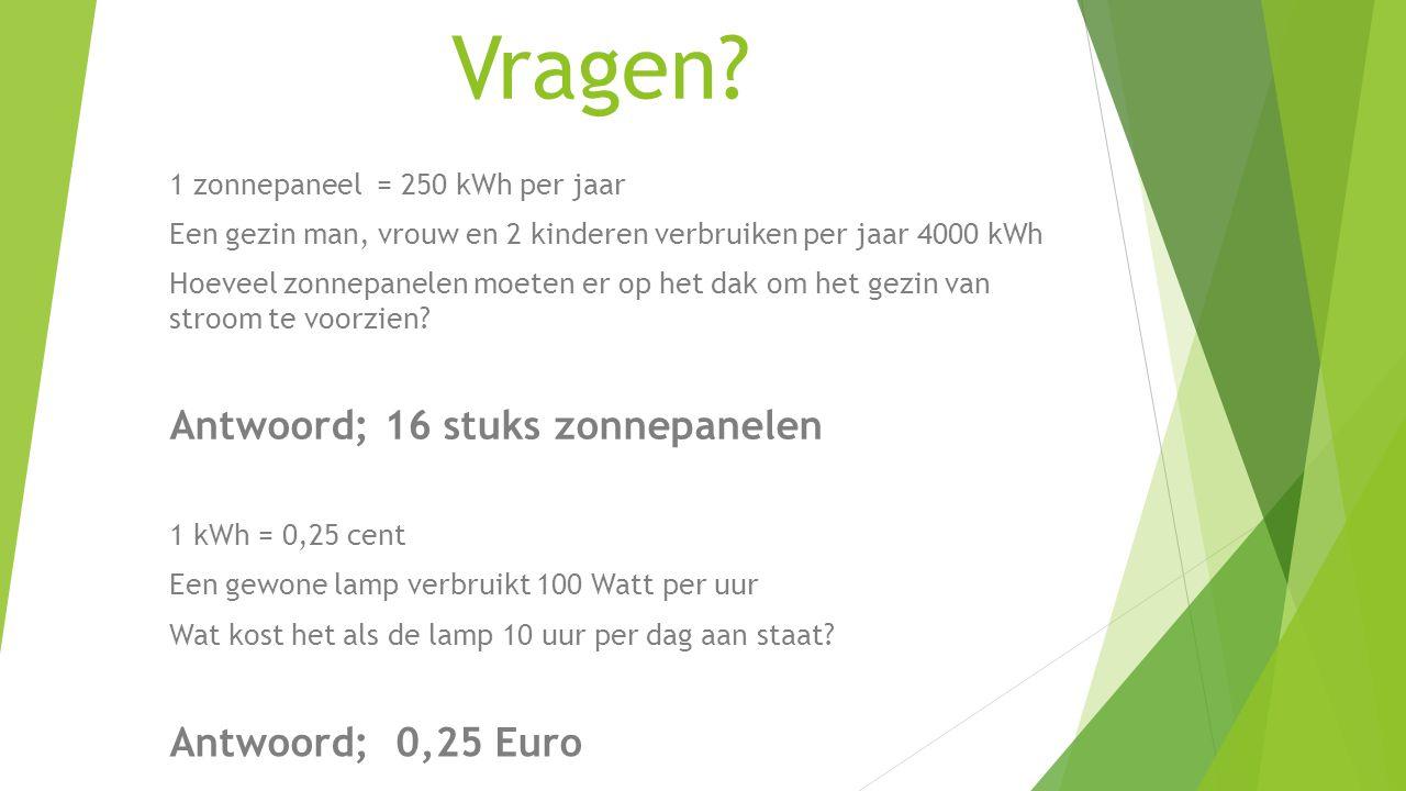 Vragen Antwoord; 16 stuks zonnepanelen Antwoord; 0,25 Euro