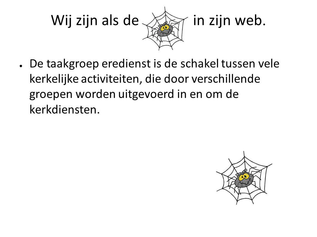 Wij zijn als de in zijn web.