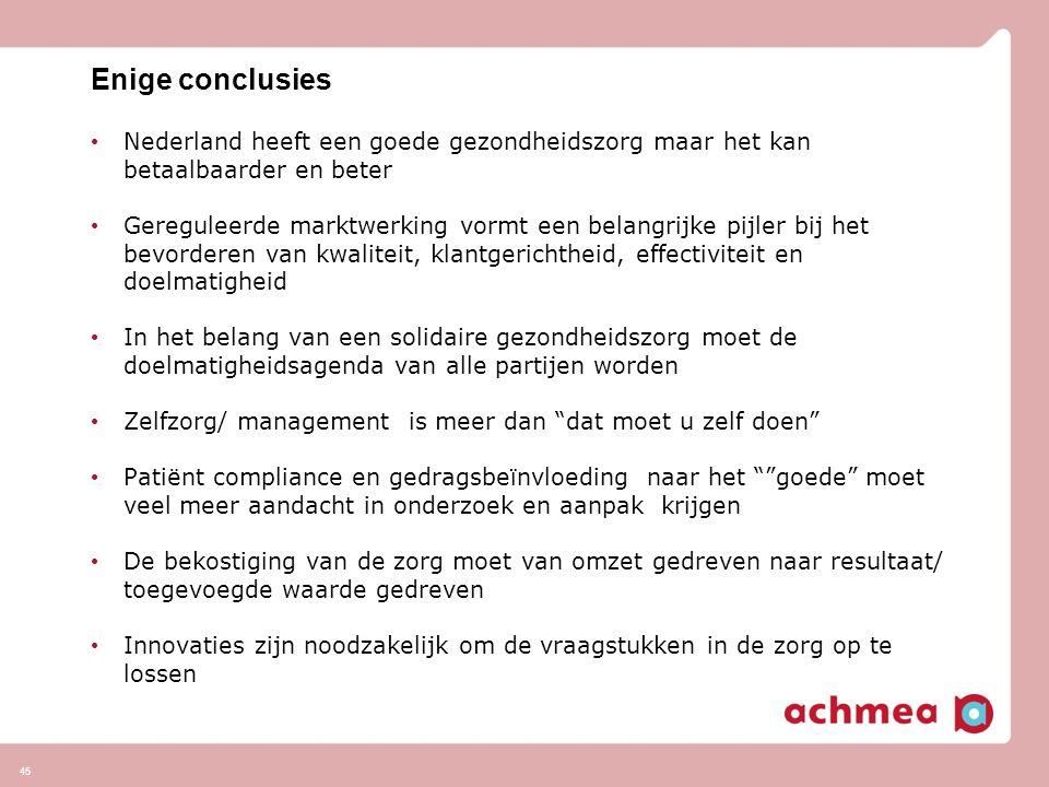 Enige conclusies Nederland heeft een goede gezondheidszorg maar het kan betaalbaarder en beter.