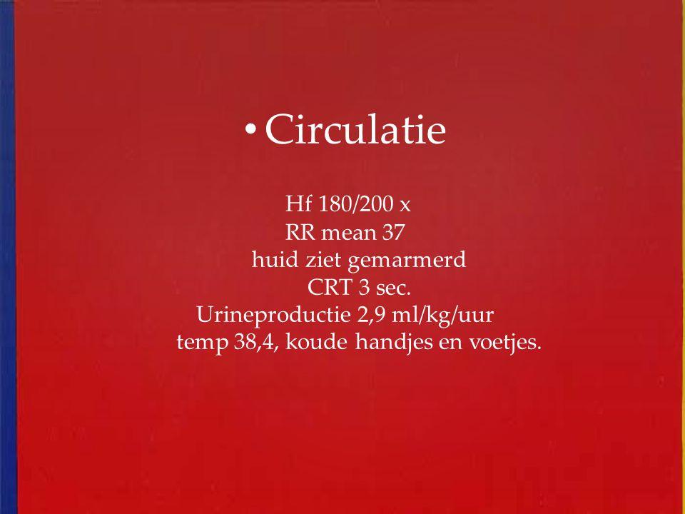 Circulatie Hf 180/200 x RR mean 37 huid ziet gemarmerd CRT 3 sec.