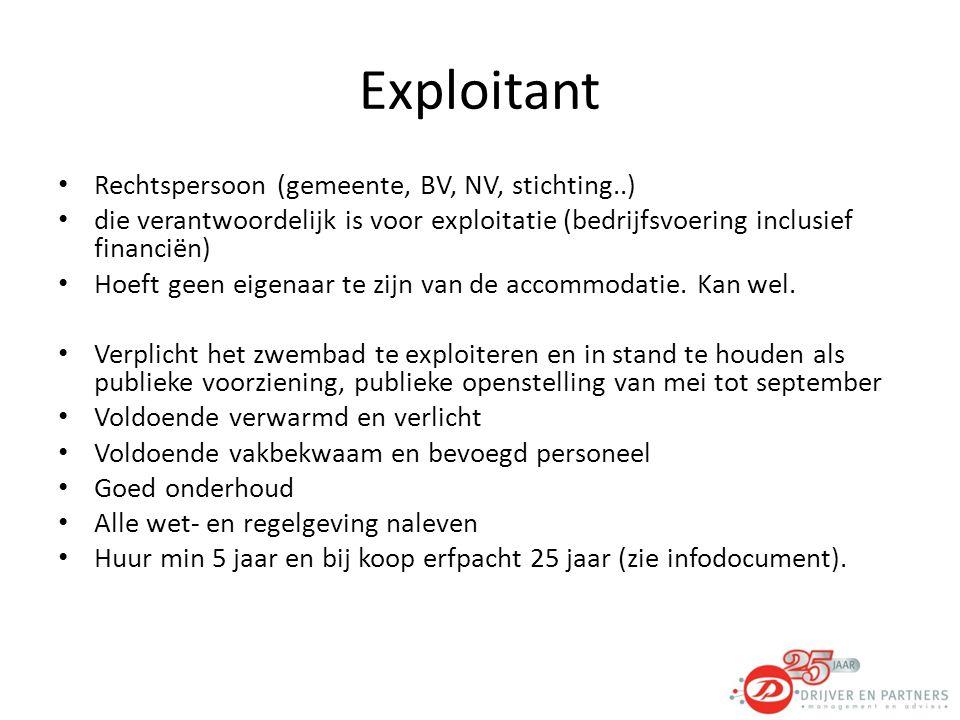 Exploitant Rechtspersoon (gemeente, BV, NV, stichting..)