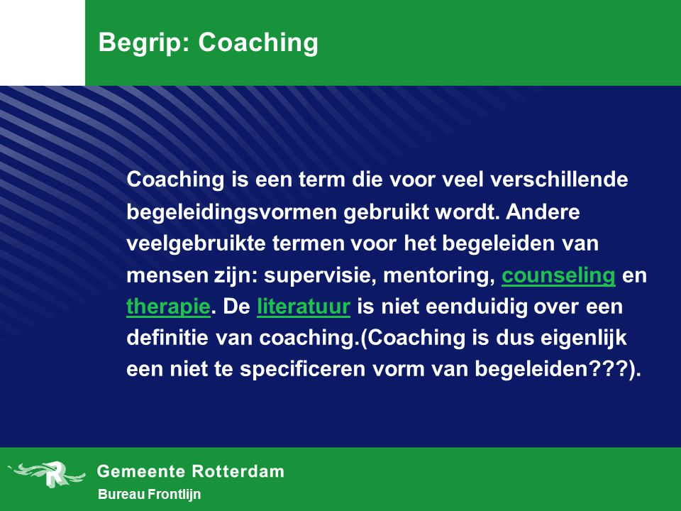 Begrip: Coaching