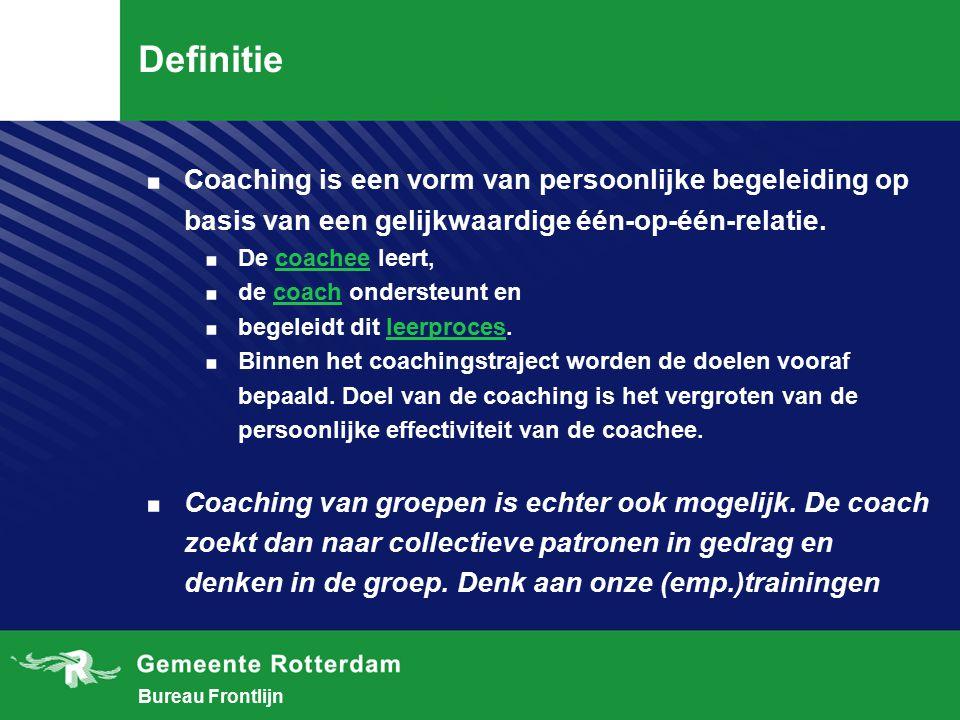 Definitie Coaching is een vorm van persoonlijke begeleiding op basis van een gelijkwaardige één-op-één-relatie.
