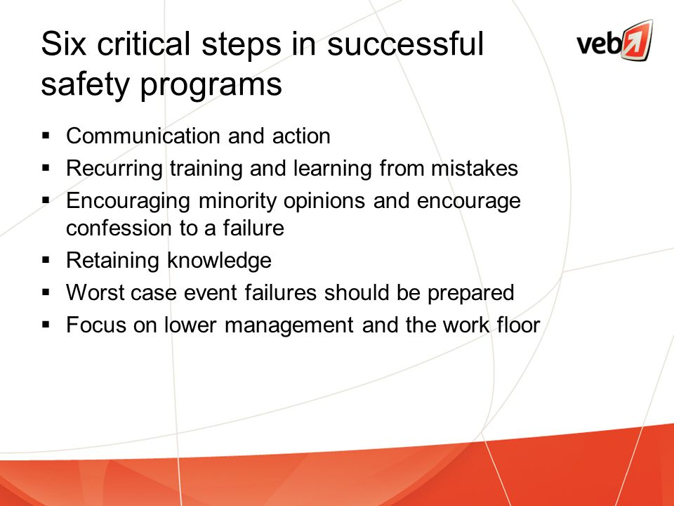 Six critical steps in successful safety programs