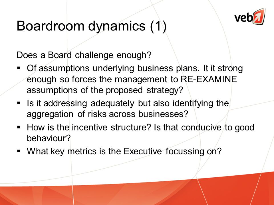Boardroom dynamics (1) Does a Board challenge enough