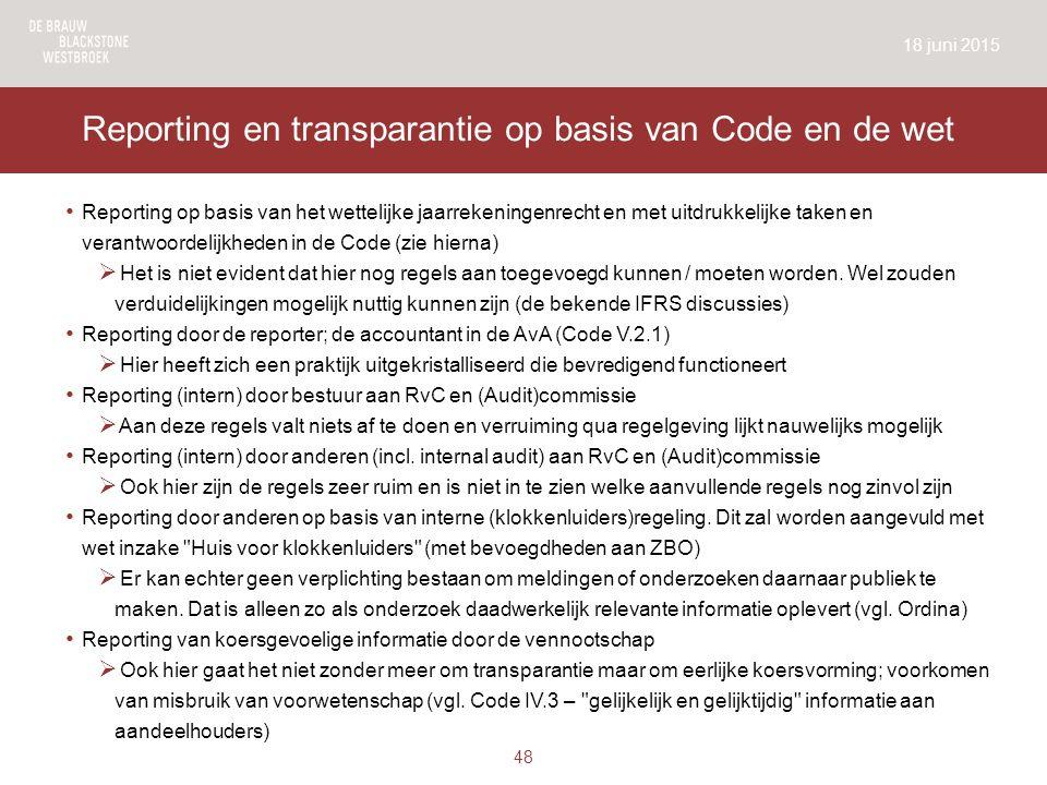 Reporting en transparantie op basis van Code en de wet