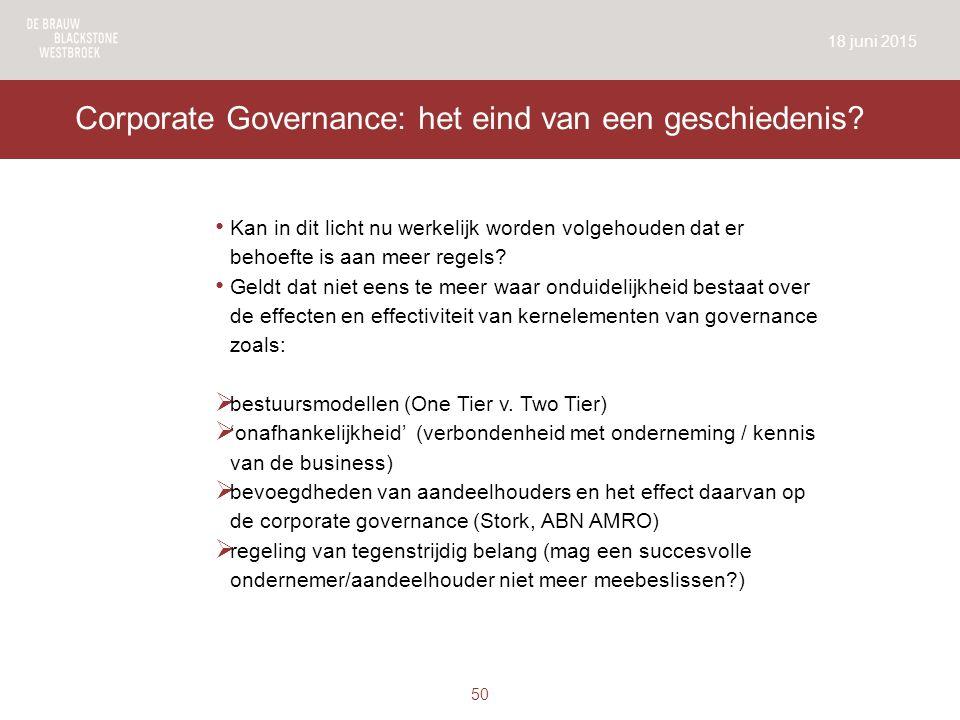 Corporate Governance: het eind van een geschiedenis