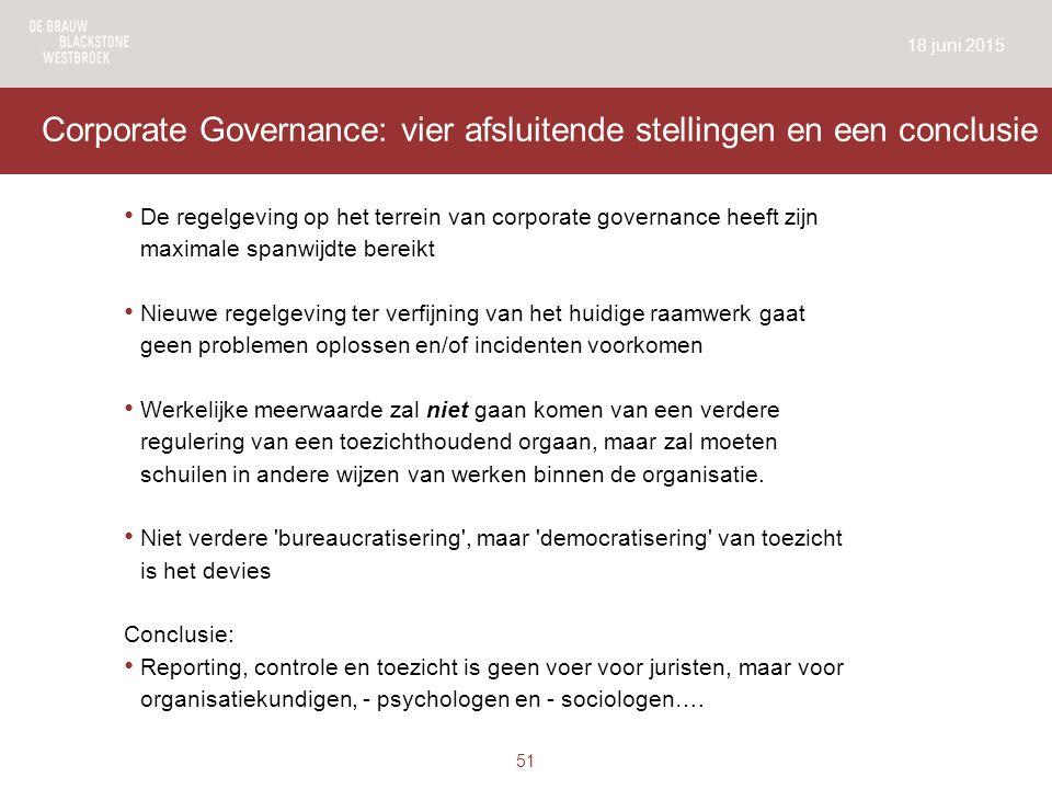 Corporate Governance: vier afsluitende stellingen en een conclusie