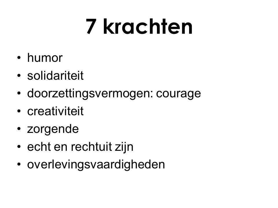 7 krachten humor solidariteit doorzettingsvermogen: courage