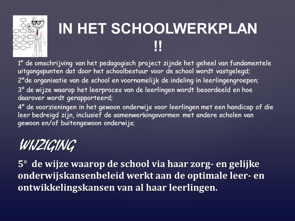 wijziging IN HET SCHOOLWERKPLAN !!