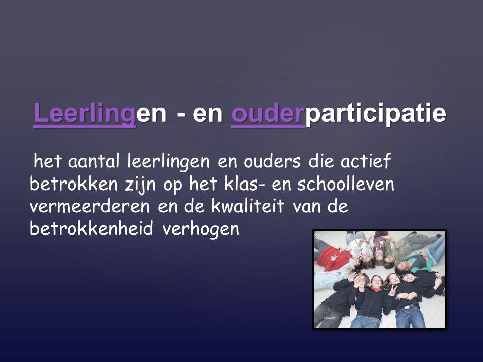 Leerlingen - en ouderparticipatie het aantal leerlingen en ouders die actief betrokken zijn op het klas- en schoolleven vermeerderen en de kwaliteit van de betrokkenheid verhogen